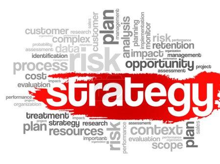 Illustration pour Mot de stratégie cloud, concept d'entreprise - image libre de droit