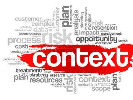 Illustration pour Concept de contexte dans word tag cloud, arrière-plan vectoriel - image libre de droit