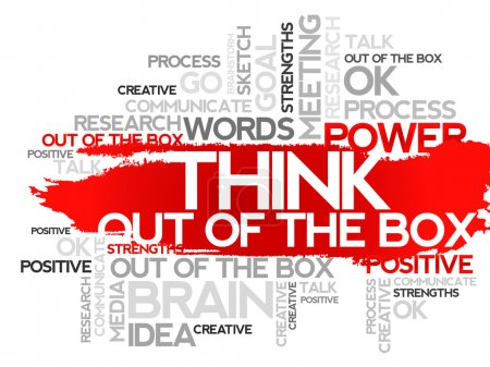 Illustration for THINK OUT OF THE BOX. Word business collage, vector background - Royalty Free Image