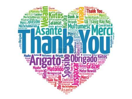 Illustration for Thank You in many languages, love heart vector concept - Royalty Free Image