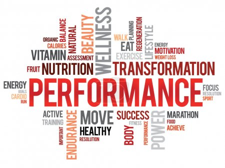 Illustration for PERFORMANCE word cloud, fitness, sport, health concept - Royalty Free Image