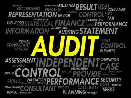 Illustration pour Nuage de mot, concept d'entreprise d'audit - image libre de droit