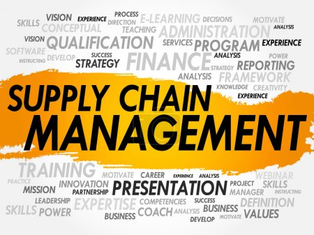Illustration for Word cloud of Supply Chain Management related items, business concept - Royalty Free Image