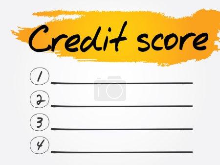 Ilustración de Lista en blanco de puntuación de crédito, fondo conceptual vectorial - Imagen libre de derechos
