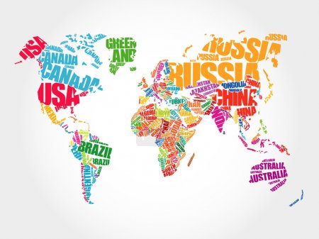 World Map in Typography word cloud