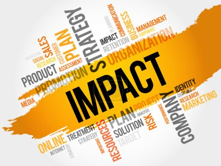 Illustration pour Word Cloud avec des tags liés à l'impact, concept d'entreprise - image libre de droit