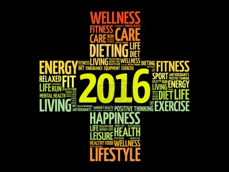 Illustration for 2016 Goals Health word cloud, health cross concept - Royalty Free Image
