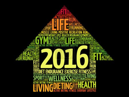 Illustration for 2016 Goals Health word cloud, health arrow concept - Royalty Free Image