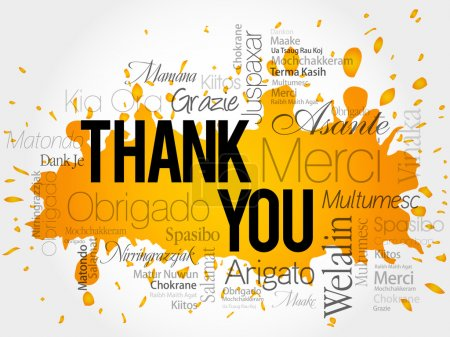 Illustration for Thank You Word Cloud vector background, all languages - Royalty Free Image