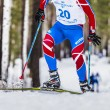 Постер, плакат: Skiers athlete men up mountain