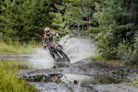 extreme racing motorcycles on forest