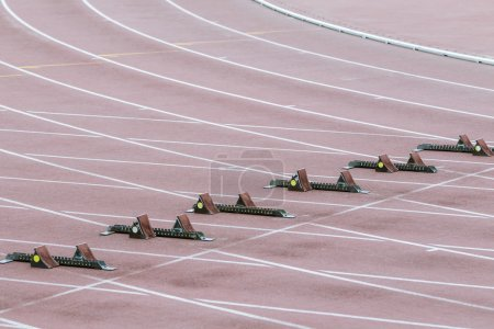 Photo for Starting blocks at the start 100 m - Royalty Free Image
