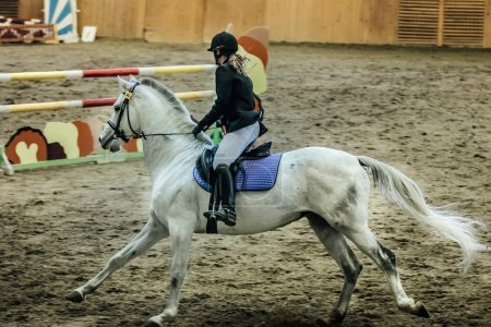 young female rider on white horse
