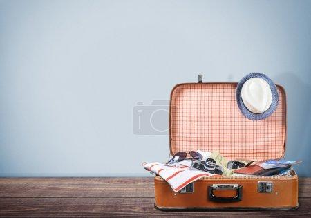 Travel bag  on wooden floor