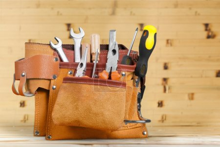 Photo for Tool belt with tools  on  background - Royalty Free Image