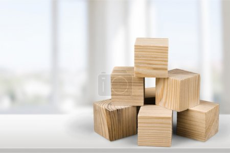 wooden cubes on  background