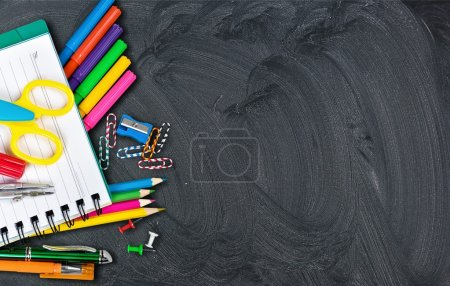 School supplies on  background