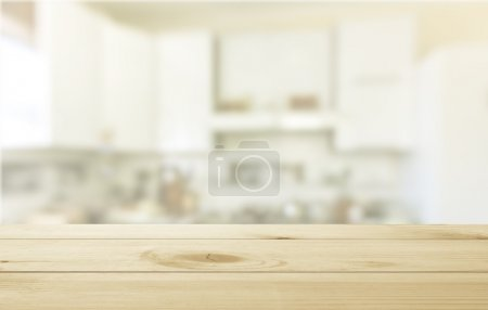 worn table and blur background