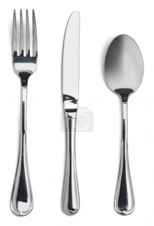 Photo for Silverware. Fork, spoon and knife isolated on white - Royalty Free Image