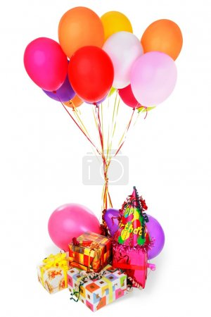 bunch of colorful balloons and gifts