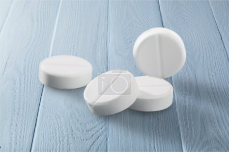 Photo for Medicine white pills on  background - Royalty Free Image