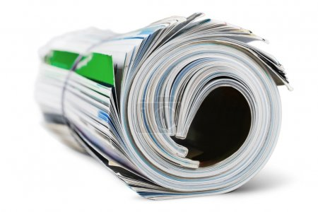 Rolled up magazines with reflection