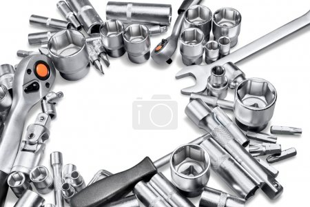 Metallic tools on white