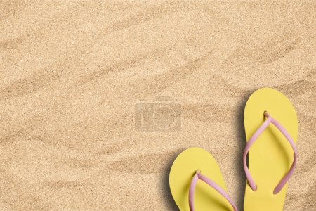 background with a pair of    flip flops on beach