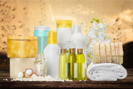 Photo for Bottles with organic essential aroma oils on background - Royalty Free Image