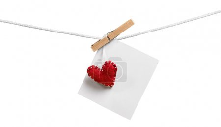 decorative heart and white card