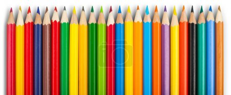 Photo for Many colored wooden pencils isolated on white - Royalty Free Image