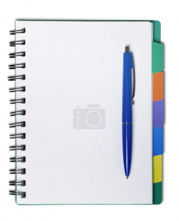 open blank notebook and pen