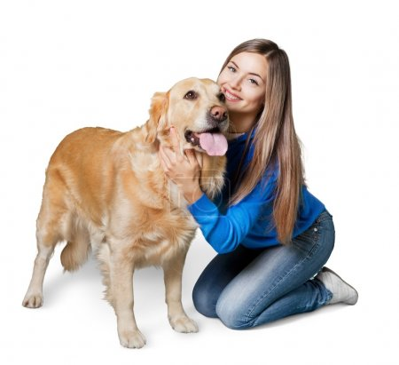 Portrait of  beautiful woman with  dog