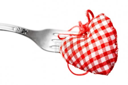 red decorative heart and fork