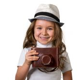 little girl with vintage camera
