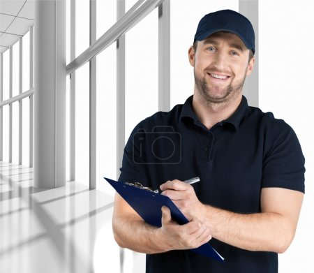 delivery man with clipboard