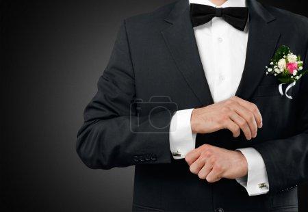 male groom in wedding suit