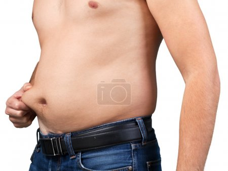 Photo for Fat man with a big belly. Diet concept - Royalty Free Image
