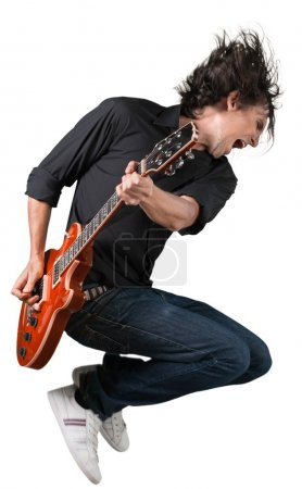 Photo for Male Guitarist playing music on white background - Royalty Free Image
