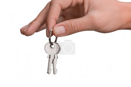 Keys in hand isolated