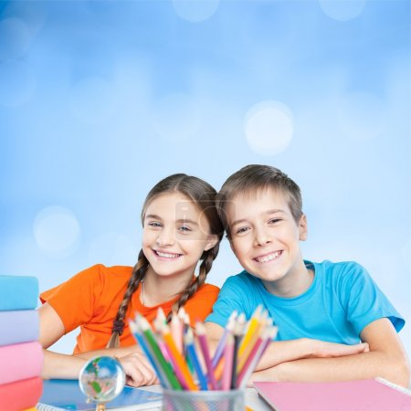Happy little students