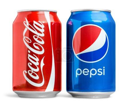 Pepsi and coca cola cans