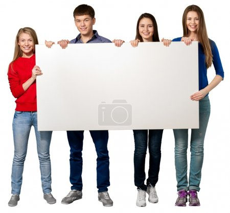 students with blank sign