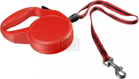 Red retractable leash for dog isolated on white ba...