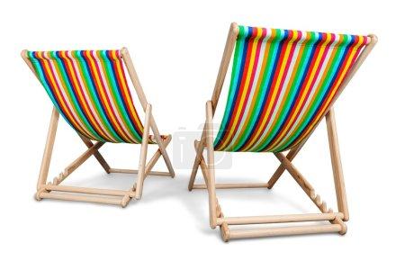 Photo pour Matcheswooden chaise longue chaises isolés sur blanc - image libre de droit