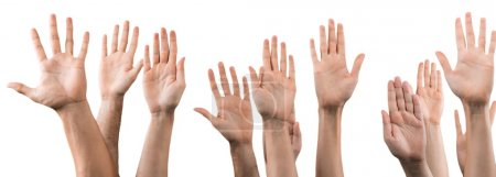 Set of raised hands