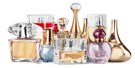 Photo for Aromatic Perfume bottles on background - Royalty Free Image