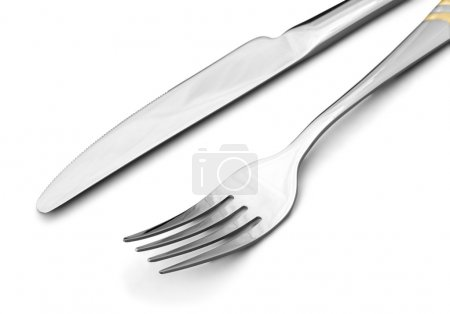 Photo for Knife and fork isolated on white background - Royalty Free Image