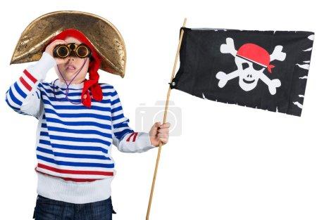 Little pirate boy with binoculars