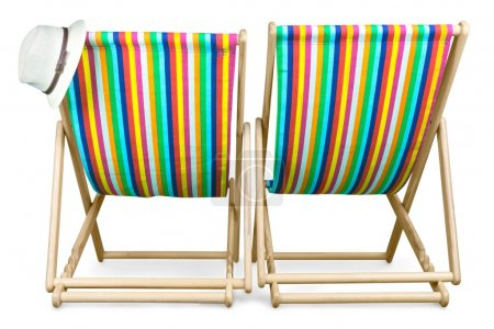 Deckchairs isolated on  background